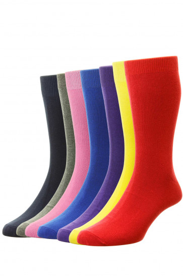 7-Pairs - Bright Colours Cotton Fashion Sock - HJ48/7PK - (UK 6-11)