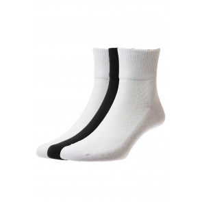 3-Pairs - Diabetic Cotton Low-Rise Socks - HJ1361/3PK - (UK 6-11)