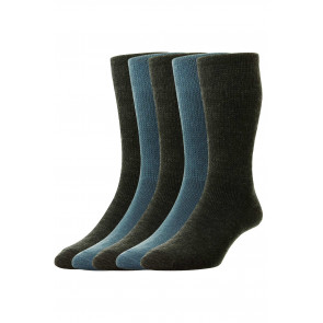 5-Pairs - Diabetic WOOL Socks - HJ1352/5PK - (UK 11-13)
