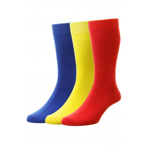 3-Pairs - Bright Colours Cotton Fashion Sock - HJ48/3PK - (UK 6-11)