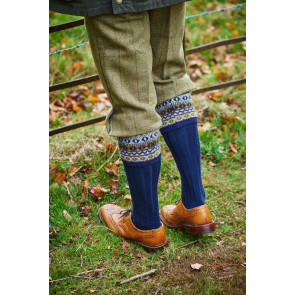 Foxley - Fairisle Pattern Top Shooting Socks - HJ629