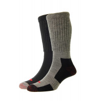 Long Thermal Wool Comfort Top Work Socks - 2 Pair Pack - HJ12